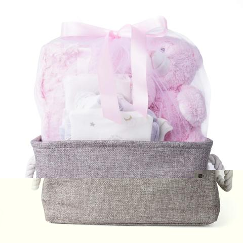 Image of Baby Welcome Gift Basket with Teddy perfect for Registry, Baby Showers and Birthdays